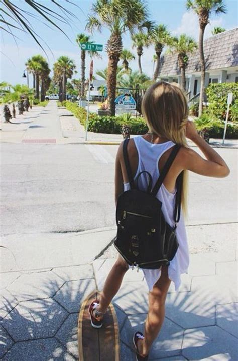 Bag Summer Longboard Skateboard Blonde Hair Backpack