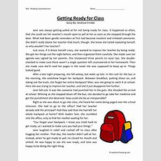 Reading Comprehension Worksheet  Getting Ready For Class