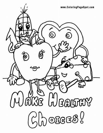 Coloring Healthy Pages Health Eating Snacks Habits