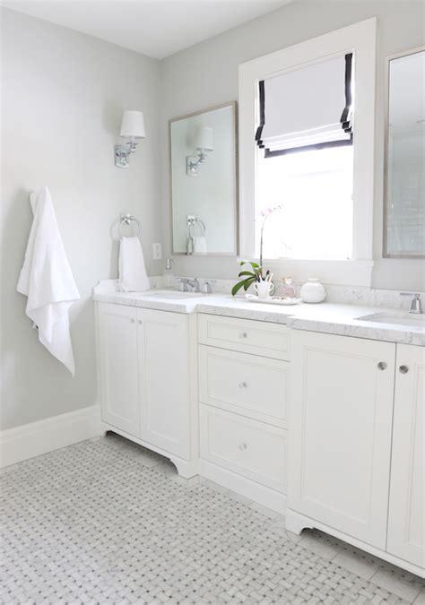 gray basketweave floor tile transitional bathroom