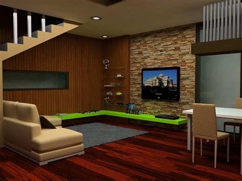 gambar wallpaper dinding ruang tv desain ruang tamu batu