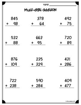 multi digits addition and subtraction worksheet multi digit addition subtraction worksheets 3 nbt a 2