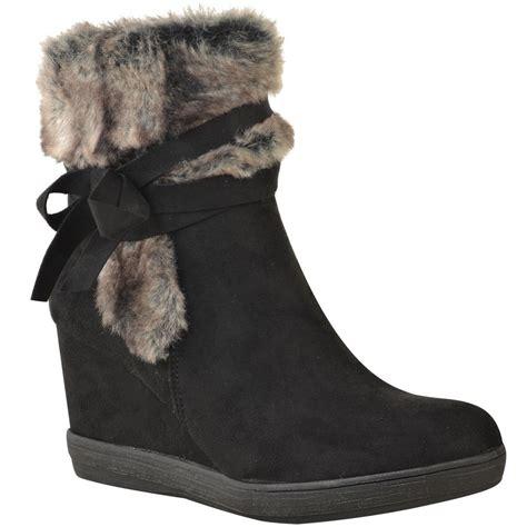 womens ladies winter fur wedge platform ankle boots zip