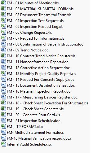 project quality plan   forms checklists