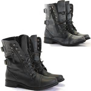 womens size 12 fashion combat boots womens combat style army worker ankle boots flat shoes size ebay
