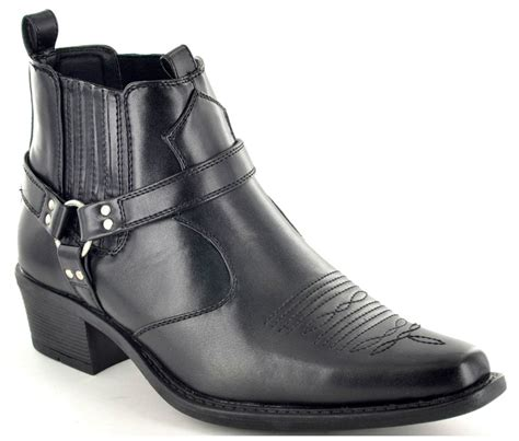 Mens Cowboy Pointed Toe Western Boots Ankle Riding Biker