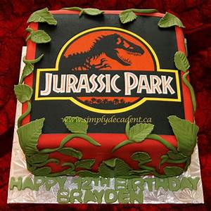 Jurassic Park Edible Image Birthday Cake With Fondant