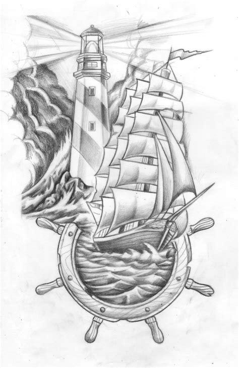 Lighthouse Ship N Helm For Mrbartabee Tattoo