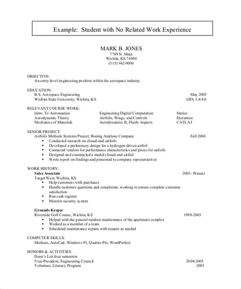 Student Resume No Experience by Sle Resume For College Student 10 Exles In Word Pdf