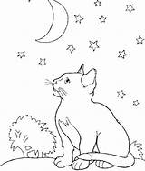 Coloring Moon Cat Night Kittens Kitten Sheet Animal Colouring Middle Malvorlagen Adult Printable Adults Luxury Kidsdrawing Popular Heart sketch template
