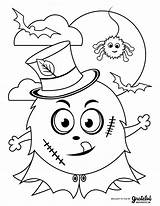 Coloring Halloween Monster Kid Frankenstein sketch template