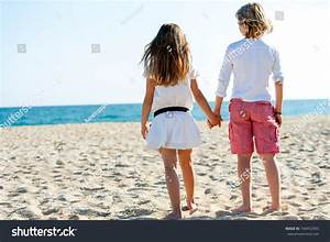 Cute Boy Girl Holding Hands Looking Stock Photo 140452993 ...