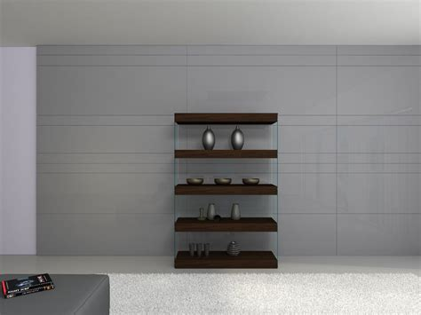 Floating Glass Cabinet - contemporary curio in timber chocolate with glass shelves