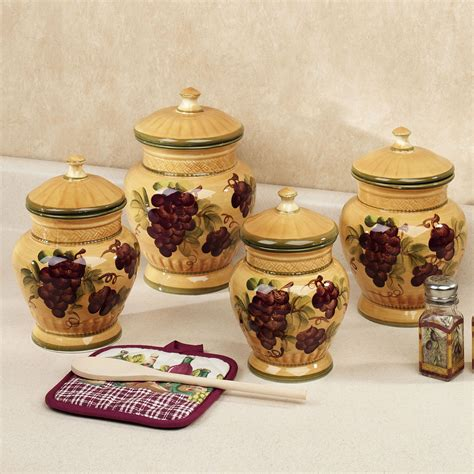 grape kitchen canisters handpainted grapes kitchen canister set canisters