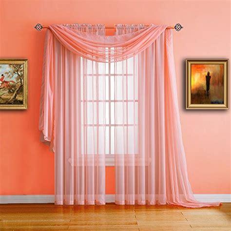 pair  long length coral orange pink sheer window