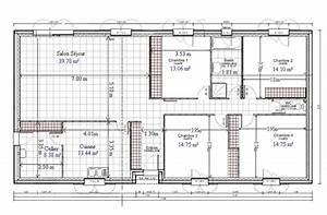 plan maison 100m2 plein pied 4 chambres madame ki With plan de maison de 100m2 plein pied