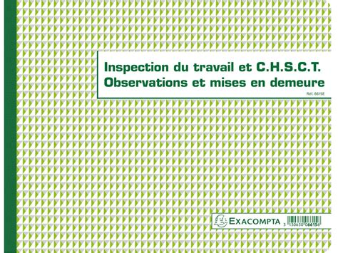 registre du travail modele registre chsct et inspection du travail exacompta 6615e