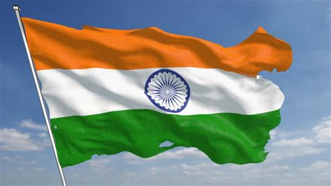 Indian Flag Animation Wallpaper - indian flag loop waving in cloudscape sunset time lapse