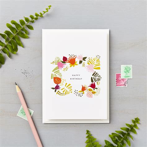 tropical abstract happy birthday card orange lucy