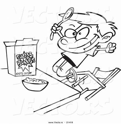 Cereal Eating Cartoon Boy Coloring Pages Drawing