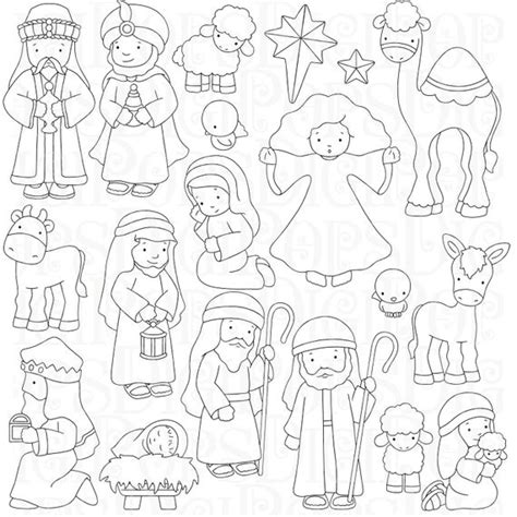 nativity digital clip art set  coloring pages personal