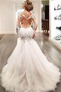 2020 Mermaid Wedding Dresses   Long Sleeves Lace Beaded ...