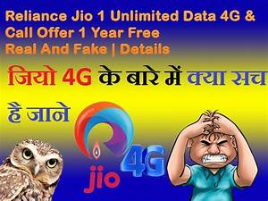 Reliance Jio Unlimited Data 4G & Call Offer Year Free Real ...