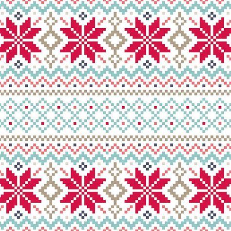 nordic pattern christmas card jule cross stitch