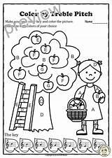 Coloring Pitch Treble Fall Musical Answers Worksheets Teacherspayteachers Anastasiya Studio sketch template