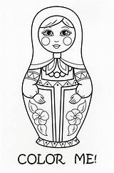 Dolls Coloring Nesting Doll Matryoshka Diana Russia Crafts Kokeshi Stacking Saransk Postcard Link sketch template