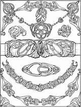 Coloring Pages Jewelry Dover Nouveau Necklace Bracelet Printable Publications Buckle Belt Adult Books Colouring Doverpublications Drawing Welcome Brac Printables Bracelets sketch template