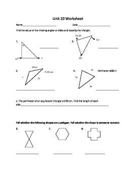 polygon unit worksheet or study guide classroom