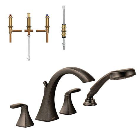 moen voss 2 handle high arc roman tub faucet trim kit with