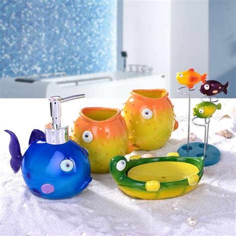 Decorative Toothbrush Holder And Soap Fish Duck Home Decorative Gift Bathroom 5 Pcs