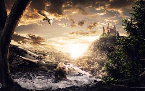 digital art fantasy art landscape bears castle