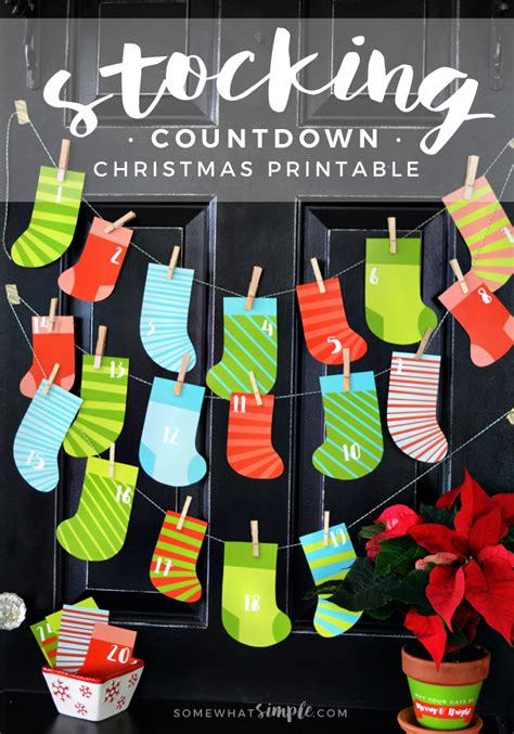 stocking christmas countdown printable