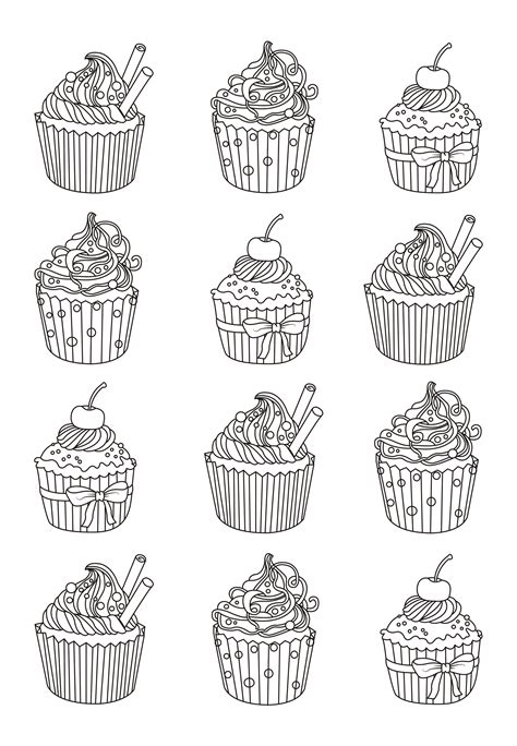 cupcakes easy celine cupcakes adult coloring pages
