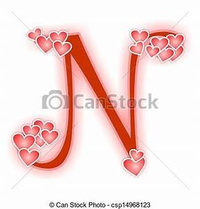 Clip Art de lettre alphabet, amour, n - Love, alphabet ...