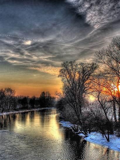 Hdr 4k Sunset River Winter Sky Resolution