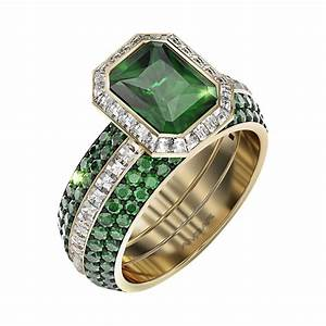 Green emerald wedding ring set frame of fire for Emerald green wedding ring