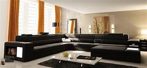 Contemporary black u shaped bonded leather sectional sofa for Custom contemporary sectional sofa