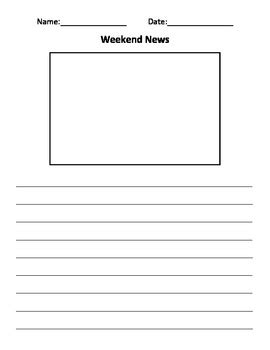 Weekend News Journal Template For Classroom By Georgia