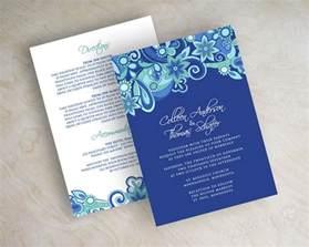 royal blue wedding invitations paisley wedding invitation paisley wedding invite paisley