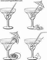 Coloring Pages Wine Bottle Adult Food Martini Glass Printable Coffee Web Mandala Sheets Drink Alcohol Colouring Drinks Cocktail Books Colour sketch template