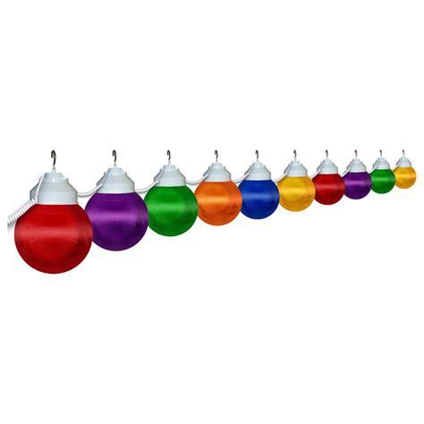 10 globe prismatic multi color string lights white housing