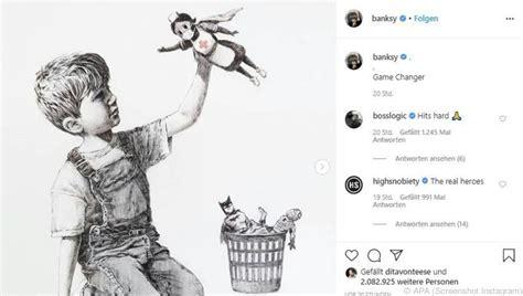 ░ hat zwei wochen im krankenhaus gelegen. Banksy stellt Krankenschwester als Superheldin dar ...