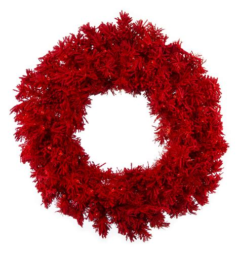 flocked red wreath  red lights northpoledecorcom