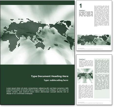 royalty  world map microsoft word template  green