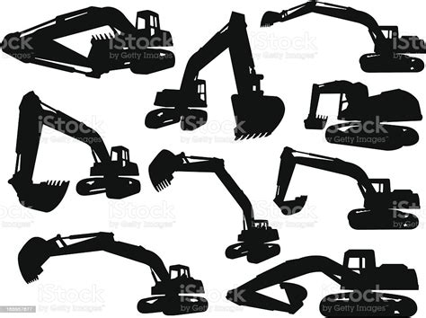 excavator silhouettes stock vector art  images  agricultural machinery  istock