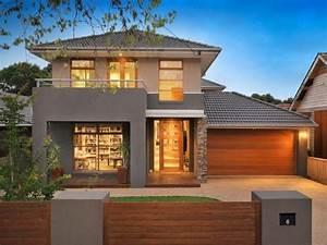 House, Facades, Brick, Modern, House, Exterior, With, Balcony, U0026, Fountain, House, Facadephoto, 511075